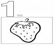 chiffre 1 avec mot et dessin dessin à colorier