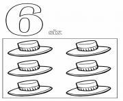 chiffre 6 avec mot et dessin dessin à colorier
