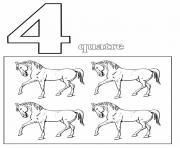 chiffre 4 avec mot et dessin dessin à colorier