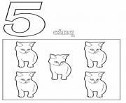 chiffre 5 avec mot et dessin dessin à colorier