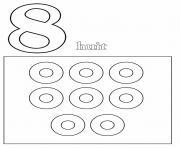 chiffre 8 avec mot et dessin dessin à colorier