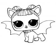 Coloriage LOL Pets Pages Cute Midnight Pup with Devil Wings