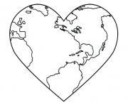 la terre en forme de coeur pour la journee de la terre dessin à colorier