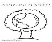 arbre jour de la terre dessin à colorier