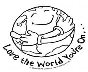 Coloriage earth day love the world youre on