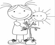 jour de la terre 22 avril maternelle fille girl soleil arbre dessin à colorier