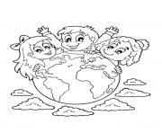 22 avril jour de la terre dessin à colorier