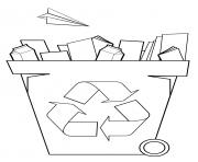 bac de recyclage papier dessin à colorier