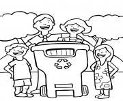 Coloriage famille bonne habitude jour de la terre recyclage dessin