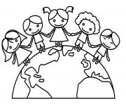 jour de la terre maternelle ecole enfants dessin à colorier