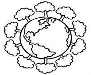 jour de la terre arbres autour de la planete dessin à colorier