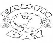 jour de la terre planete avec des fleurs dessin à colorier