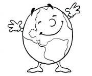 la planete terre heureuse journee de la terre dessin à colorier