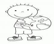 enfant garcon jour de la terre dessin à colorier
