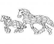 Coloriage adulte chevaux en route