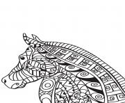 Coloriage adulte cheval zentangle 13
