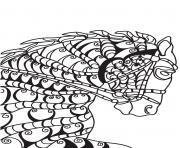 adulte cheval tete de front dessin à colorier