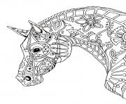 cheval adulte decorative horse profile dessin à colorier