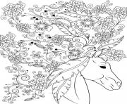 sublime cheval animal fleurs pour adulte dessin à colorier