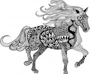 Coloriage adulte cheval zentangle 13 dessin