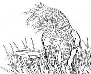 coloriage horse cheval dans la nature adulte