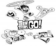 Coloriage teen titans go adulte dessin