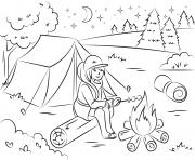 camping fille chauffe des guimauves ete vacance dessin à colorier