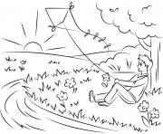 garcon cervolant assis pres dun arbre soleil dessin à colorier