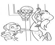 Coloriage sport basketball adolescent dessin