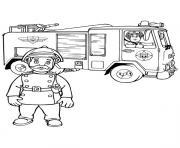 sam le pompier dans un camion et son capitaine dessin à colorier