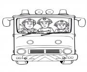 sam le pompier et camarades dans un camion de pompiers dessin à colorier