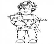 sam le pompier sauve un chat dessin à colorier