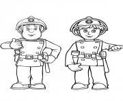 sam le pompier et son camarade de la caserne dessin à colorier