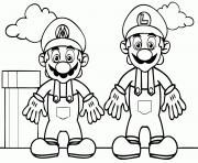 Coloriage mario and luigi