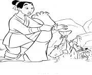 mulan a la peche avec mushu dessin à colorier