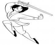 mulan la combattante avec une epee dessin à colorier