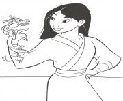 mulan et mushu dessin à colorier