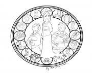 mulan mandala disney dessin à colorier