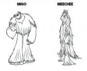 yeti et compagnie Film Migo Meechee dessin à colorier