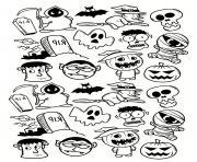 halloween fantome vampire citrouille doodle dessin à colorier