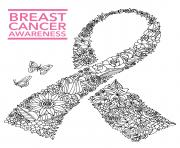 breast cancer awareness ribbon dessin à colorier
