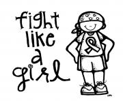breast cancer fight like a girl dessin à colorier