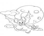 chauve souris dans les airs lune halloween dessin à colorier