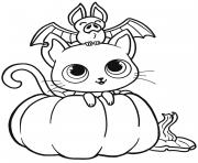 chauve souris chat citrouille halloween dessin à colorier