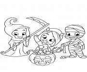 enfants deguises pour halloween friandises dessin à colorier