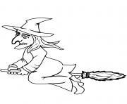 Coloriage halloween witch on a broom halloween