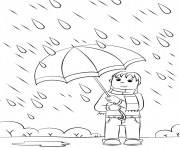 Coloriage rainy day automne