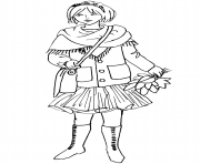 Coloriage automne girl fall