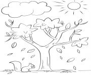 automne tree nature dessin à colorier