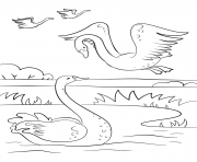 Coloriage automne scene with swans fall